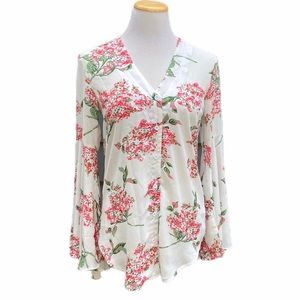 Boohoo Floral Button Down Bell Sleeve Top